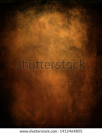 Dark grunge old paper texture, scary obsolete background with frame and space for your text or picture