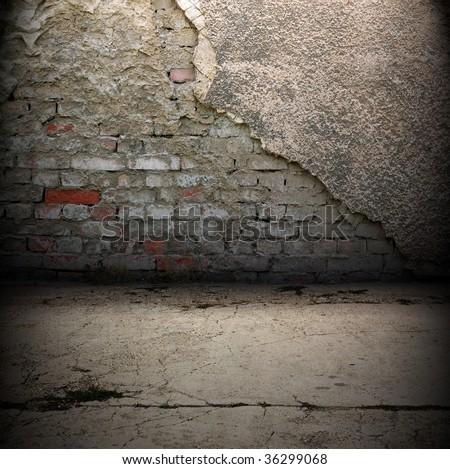 Dark Grunge Room. Digital background for studio photographers. - stock