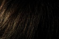 Dark hair macro background. Beuaty woman concept