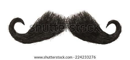 Dark Hairy Mustache Isolated on White Background. ストックフォト ©