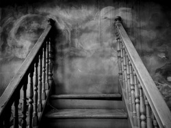Dark Haunt Worn Stairs with Stalemate / Space for Text / Scary and Mysterious Concept for Halloween Background Theme