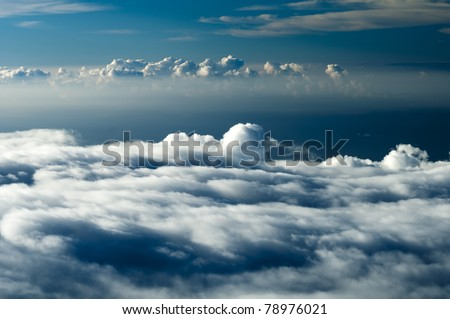 Dark heavenly clouds in the sky. This photograph was taken at 10,000 feet elevation and shows the clouds forming in a more dramatic way.