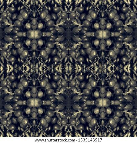 Dark Horizontally seamless design. Ornamental Geometry. Ornamental Geometry. Black Silver Decoration print. Asian Ornament. Glamure Kaleidoscope Effect. Floral Pattern. Floral Elements