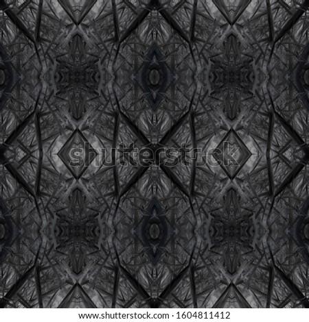 Dark Horizontally seamless design. Ornamental Geometry. Ornamental Geometry. Black Silver Decoration print. Dark Texture. Luxury Kaleidoscope Pattern Floral Elements Floral Elements