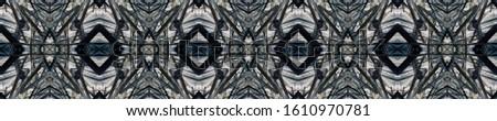 Dark Horizontally seamless design. Ornamental Geometry. Ornamental Geometry. Black Silver Decoration print. Indian Tribal Art. Luxury Kaleidoscope Effect. Floral Pattern. Floral Elements