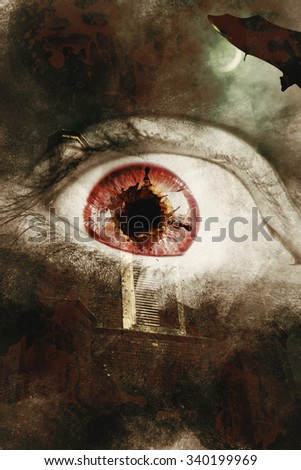 Dark horror photo on a fear splattered eye overlaid on scary asylum background. When souls escape