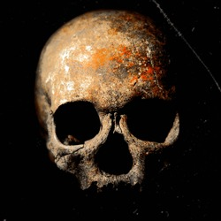 Dark image of a creepy skull with powerful shadows, on dark background