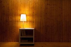 dark interior of room, lamp light in the night