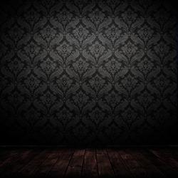 dark interior room with baroque wallpaper.