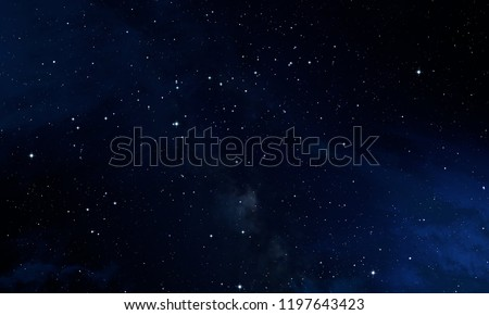 Dark interstellar space. 2d illustration. Stars in a deep space. Blue cold nebula. Dark night sky.