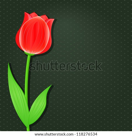 Dark Invitation Card with Single Flower - Red Tulip. Vector Floral Background