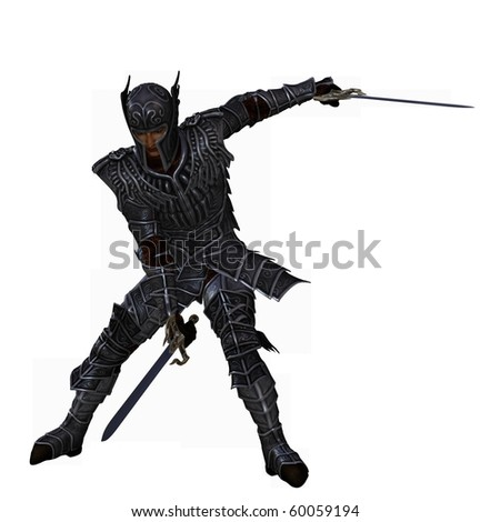 dark knight fighting with two swords - stock photo
