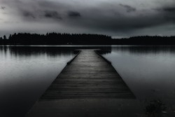 Dark Lake Dark and depressing edit capturing the mood of dock at Scott Lake, Washington during autumn rain storm