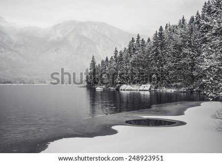 Stock Photo Dark Lake Reflection. Winter Fairytale at Bohinj Lake in Slovenia. Mystical landscape on a winter day with heavy snow. Cottages reflection in the Snow.