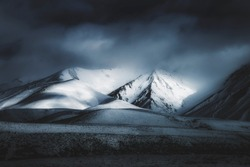 Dark Landscape Mountain Background, Spooky Darkness Winter Storm Weather, Scenic View of Mountains In The Distance, Foggy Misty Clouds Rolling Over Mountain Range