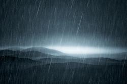 dark landscape with rain