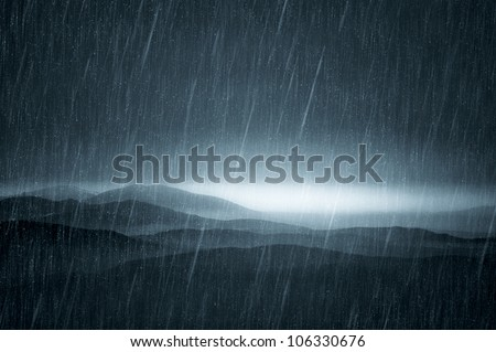 dark landscape with rain - stock photo