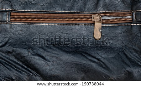 Dark leather texture and zipper background