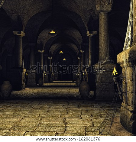 Dark medieval corridor with columns and torches