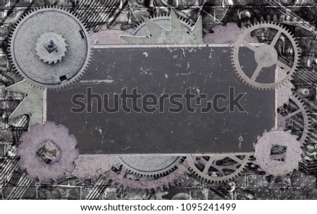 dark metal blank old label in gears on industrial background