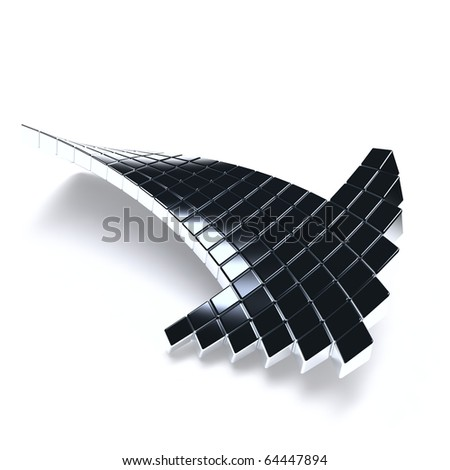 dark metallic arrow consisting of metal cubes on a white background