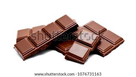 Dark milk chocolate bars stack isolated on a white background #1076731163