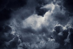 Dark moody storm clouds. Ominous warning.