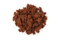 Dark muscovado sugar, also called Barbados sugar, khandsari, or khand, isolated on white background