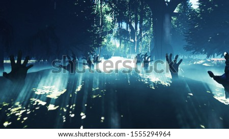 Dark mysterious misty swamp forest landscape. Dead hands reach out from the ground, steam rises from the marsh, for halloween backgrounds. 3D Rendering