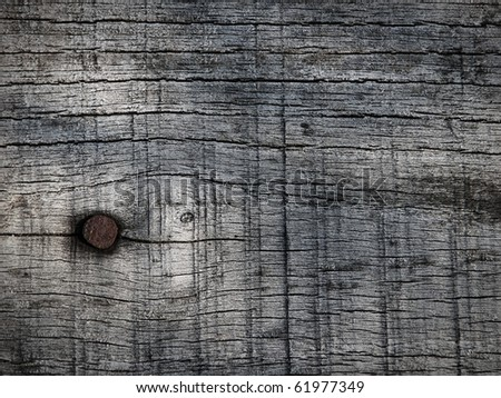 Dark natural wood texture with a nail