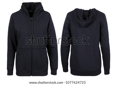 Dark Navy Hoodie Front and Back Photographed on a Ghost Mannequin #1077624725