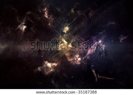 Dark nebula landscape from the space.