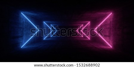 Dark Neon Blue Purple Arrow Pointers Glowing Futuristic Sci Fi Stage Show Garage Rough Grunge Concrete Night Tunnel Corridor Empty Virtual Underground Background 3D Rendering illustration