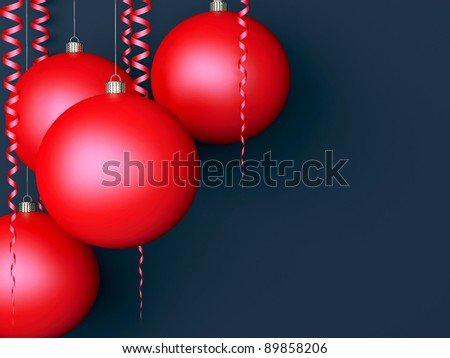 Dark New Year background with red balls and scrolls