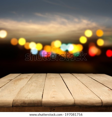 dark night and yellow wooden table of free space  #197081756