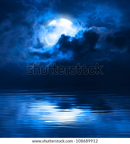 Dark Night Full Moon - stock photo