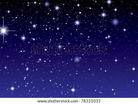 Dark night sky with sparkling stars and planets - stock photo