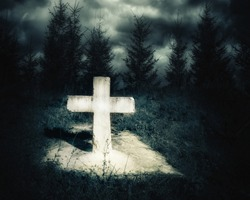 Dark night spooky landscape with abandoned grave and memory stone next haunted mysterious forest under dramatic sky. Evil and nightmare concept
