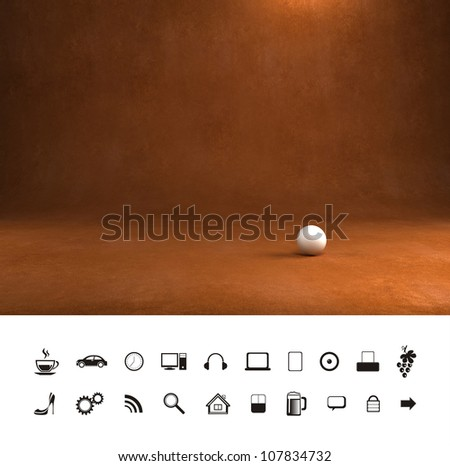 Dark old brown leather texture 3d background. Professional photo studio place.