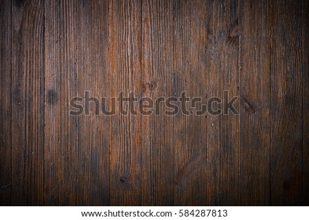 Dark old wooden planks table texture background top view #584287813
