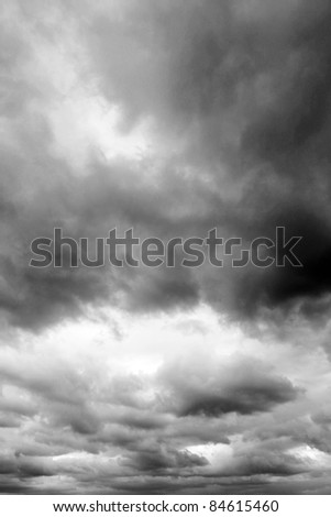 Dark ominous clouds. Dramatic sky.
