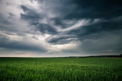 Dark ominous clouds in front of the hurricane. Awesome photo of the texture of storm clouds. Adverse weather conditions. Climate change. Wallpaper force of nature. Discover the beauty of earth.