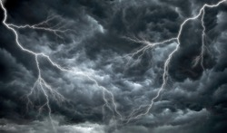 Dark, ominous rain clouds and lightening