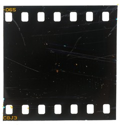 dark or black and exposed film strip with scratches and marks or signs of usage, real macro photo, no scan