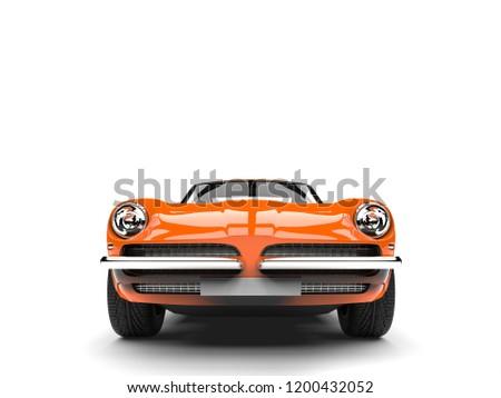 Dark orange vintage race fast car - front view - 3D Illustration