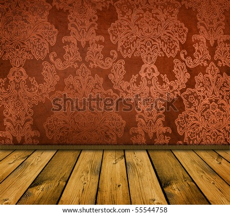 dark orange vintage room with wooden floor
