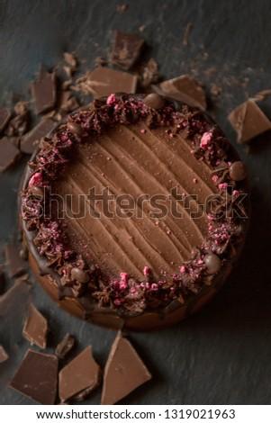 Dark Photography Rich Chocolate Happy Birthday Cake 1319021963