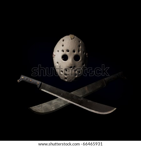 Dark picture of hockey mask and machetes