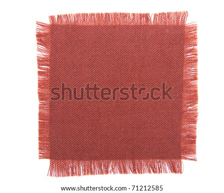 Dark pink marsala fabric square, frayed background