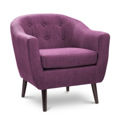 Dark pink rose violet purpure color armchair. Modern designer chair on white background. Textile chair.